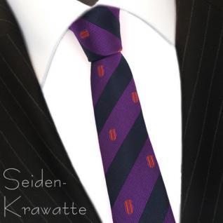 schmale Mexx Seidenkrawatte magenta blau royal orange getreift - Krawatte Seide