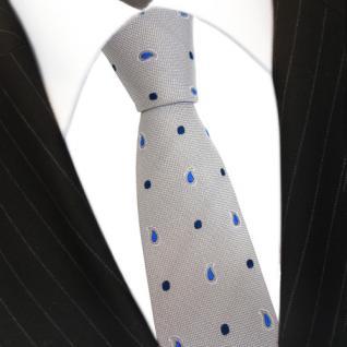 Mexx Seidenkrawatte silber grau blau gepunktet - Krawatte Seide Silk Tie