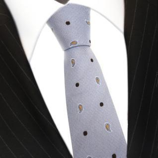 Mexx Seidenkrawatte blau gold silber Paisley gepunktet - Krawatte Seide Binder - Vorschau 3