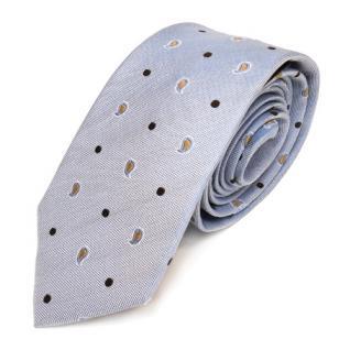 Mexx Seidenkrawatte blau gold silber Paisley gepunktet - Krawatte Seide Binder