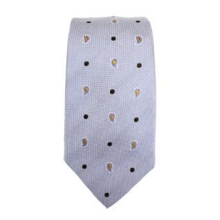 Mexx Seidenkrawatte blau gold silber Paisley gepunktet - Krawatte Seide Binder - Vorschau 2