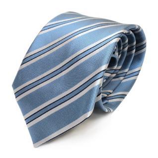 Mexx Satin Seidenkrawatte blau hellblau silber gestreift - Krawatte Seide