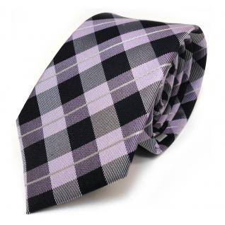schmale Mexx Seidenkrawatte lila violett silber schwarz kariert - Krawatte Seide