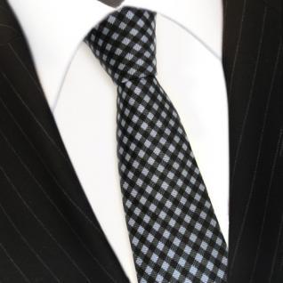 schmale Mexx Seidenkrawatte blau anthrazit grau schwarz kariert - Krawatte Seide - Vorschau 3