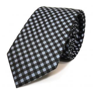 schmale Mexx Seidenkrawatte blau anthrazit grau schwarz kariert - Krawatte Seide