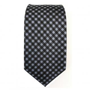 schmale Mexx Seidenkrawatte blau anthrazit grau schwarz kariert - Krawatte Seide - Vorschau 2