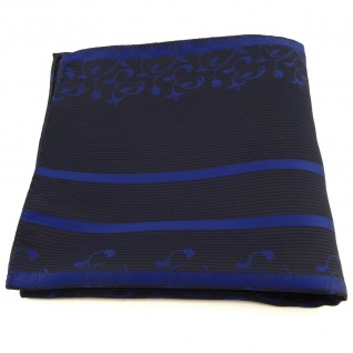 Einstecktuch in blau dunkelblau schwarz gestreift Ornamente - Tuch Polyester