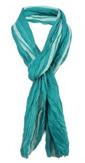 gecrashter Schal in grün türkisgrün gestreift mit Fransen - Gr. 180 x 50 cm
