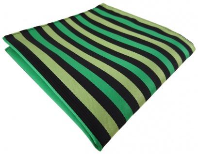 Einstecktuch in grün hellgrün schwarz gestreift - Tuch Polyester Gr. 25 x 25 cm