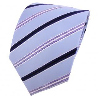 Designer Krawatte blau hellblau silber weiß schwarz gestreift - Schlips Binder