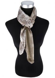 Satin Halstuch in braun silber weissgrau gemustert - Tuchgröße 90 x 90 cm - Vorschau