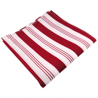 schönes Einstecktuch rot signalrot weiß silber gestreift - Tuch 100% Polyester