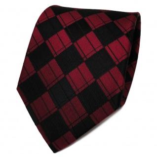 TigerTie Designer Seidenkrawatte rot rubinrot schwarz kariert - Krawatte Seide