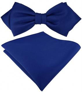 vorgebundene TigerTie Spitzfliege + Einstecktuch in dunkelblau einfarbig + Box