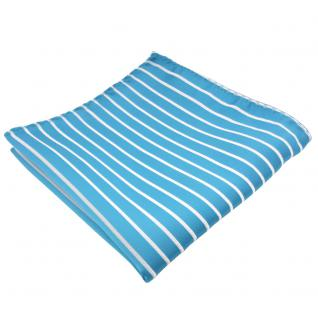 schönes Einstecktuch in türkis türkisblau weiß silber gestreift - Tuch Polyester