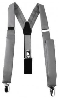 schmaler TigerTie Unisex Hosenträger mit 3 extra starken Clips - in grau Uni