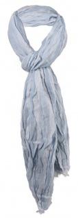 gecrashter Schal in blau hellblau gestreift mit Fransen - Gr. 180 x 50 cm