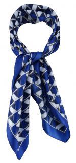 TigerTie Damen Nickituch Halstuch blau royal marine anthrazit silber gemustert