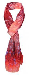 TigerTie weicher Schal in rot rose lila grau - Motiv Blumenwiese - 180 x 70 cm