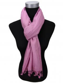 Schal in lila violett Uni einfarbig mit Fransen - Gr. 180 x 100 cm - Halstuch