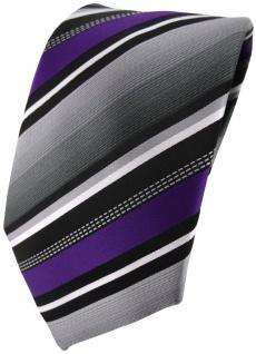 TigerTie Designer Krawatte in lila silber grau weiss gestreift - Tie Binder