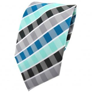 TigerTie Krawatte türkis mint wasserblau grau anthrazit weiß gestreift - Binder - Vorschau 1