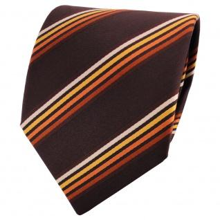 TigerTie Satin Krawatte braun mahagonibraun orange beige gestreift - Binder Tie