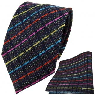 TigerTie Designer Krawatte + Einstecktuch gold pink türkis rot schwarz gestreift