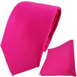 TigerTie Designer Krawatte + Einstecktuch pink rosa einfarbig Uni