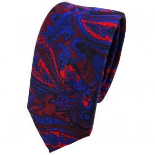 Schmale TigerTie Krawatte in blau rot weinrot lila schwarz Paisley gemustert