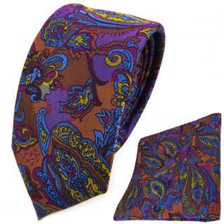 schmale TigerTie Krawatte + Einstecktuch violett gold blau kupfer Paisley