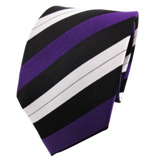 TigerTie Seidenkrawatte lila schwarz silber gestreift - Krawatte Seide Binder