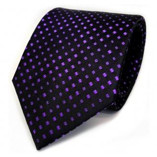 TigerTie Designer Seidenkrawatte lila schwarz gepunktet - Krawatte Seide Binder