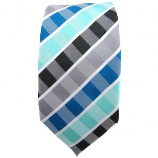 Schmale TigerTie Krawatte türkis mint wasserblau grau anthrazit weiß gestreift - Vorschau 2