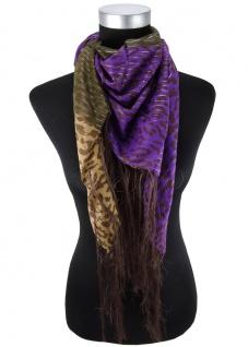 Halstuch in dunkelbraun braun violett Glitzerfaden gemustert mit langen Fransen - Vorschau 2