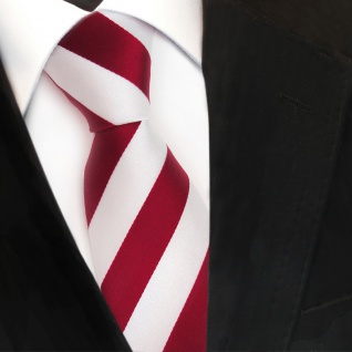 TigerTie Designer Krawatte - Schlips Binder rot signalrot weiss gestreift - Tie