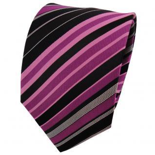 TigerTie Seidenkrawatte magenta fuchsia schwarz silber gestreift - Krawatte Tie