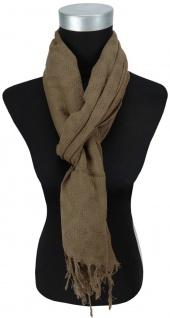 Schal in oliv einfarbig Uni mit Fransen - 170 x 50 cm - Tuch Baumwolle