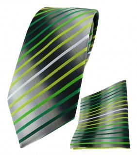 TigerTie Krawatte + Einstecktuch in grün hellgrün weiss silbergrau gestreift