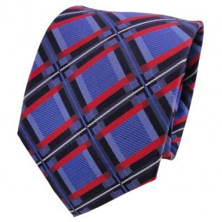 TigerTie Designer Seidenkrawatte blau rot royal silber kariert - Krawatte Seide