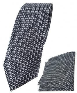 schmale TigerTie Krawatte + Einstecktuch in silber schwarz grau gemustert