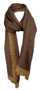 Schal in braun dunkelbraun mit kleinen Fransen - Gr. 180 x 50 cm - Halstuch