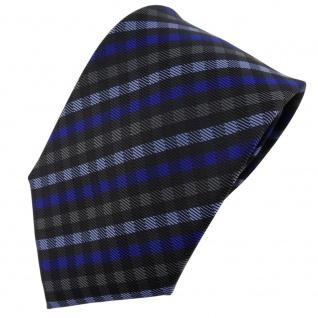 TigerTie Designer Krawatte blau anthrazit schwarz kariert - Schlips Tie