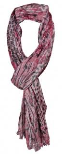 gecrashter TigerTie Schal rosa schwarz Silberfaden Tierfellmuster - 170 x 50 cm