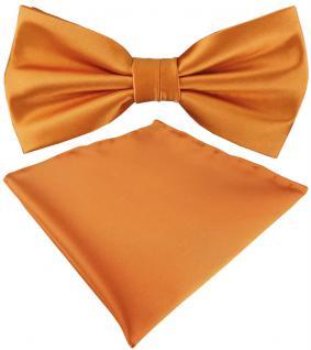 TigerTie Satin Fliege + Einstecktuch in orange Uni einfarbig + Geschenkbox