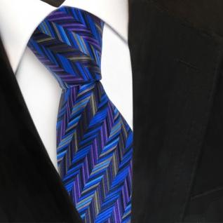 TigerTie Seidenkrawatte blau lila grau anthrazit gemustert - Krawatte Seide Tie
