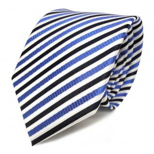 TigerTie Seidenkrawatte blau weiss dunkelblau gestreift - Krawatte Seide Tie