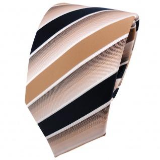 TigerTie Designer Krawatte beige braun dunkelblau weiß gestreift - Binder Tie