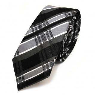 Schmale TigerTie Seidenkrawatte schwarz grau weiss kariert - Krawatte Seide Silk