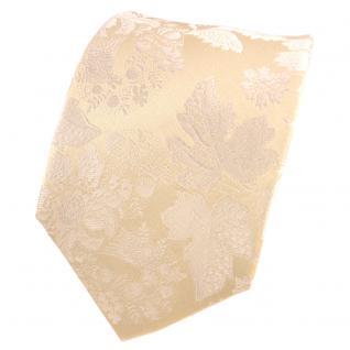 TigerTie Designer Seidenkrawatte beige creme elfenbein gemustert- Krawatte Seide